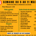 menu du 5 au 11 mai 2020